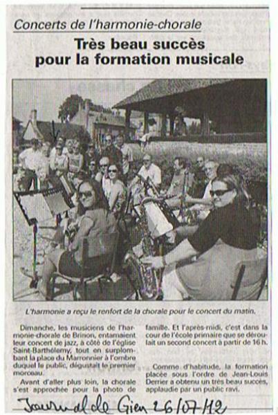 Le Journal de Gien - Concert Harmonie Chorale de Brinon Noel 2012